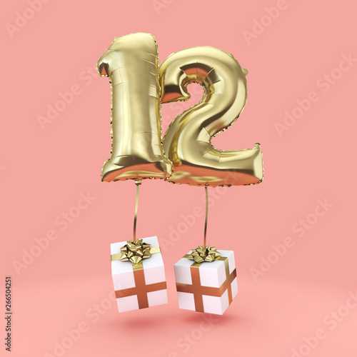 canvas print motiv - ink drop : Number 12 birthday celebration gold foil helium balloon with presents. 3D Render