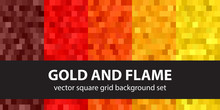 Square Pattern Set Gold And Fl...