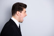 Evil collar. Profile side view photo frustrated irritated stylish manager annoyed have disagreement feel rage crazy disappointed scream shout yell dressed modern clothing isolated argent background