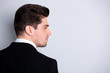 Profile side back rear behind view photo sullen strict entrepreneur collar have workforce question pensive imagine decide solve choose formal wear jacket stylish grey background isolated suspicious