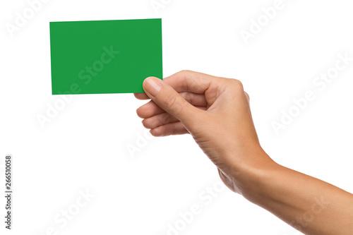 Fototapeta Green card in woman's hand obraz