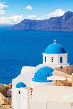 Beautiful Santorini Landscape With White Church, Caldera, Sea And Sky Clouds