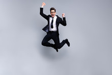 Full Length Body Size View Portrait Of His He Nice Elegant Imposing Attractive Crazy Cheerful Guy Diplomat White Collar Celebrating Holiday Career Growth Isolated Over Light Gray Background