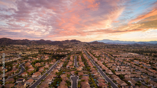 Recess Fitting Deep brown aerial photo of residential homes in california