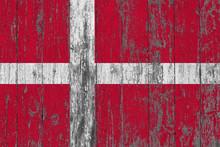 Flag Of Denmark Painted On Wor...