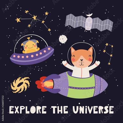 In de dag Illustraties Hand drawn vector illustration of a cute cat astronaut, alien, in space, with lettering quote Explore the universe, on dark background. Scandinavian style flat design. Concept for children print.