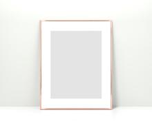 Rose Gold Frame Mockup On A Wh...
