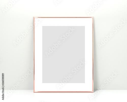 Rose gold frame mockup on a white background  3x4 Vertical