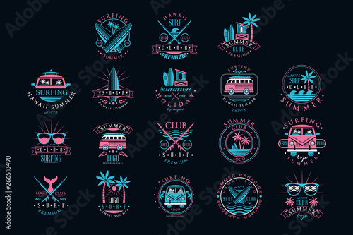 Fototapeta Vector set of vintage logos for surfing club