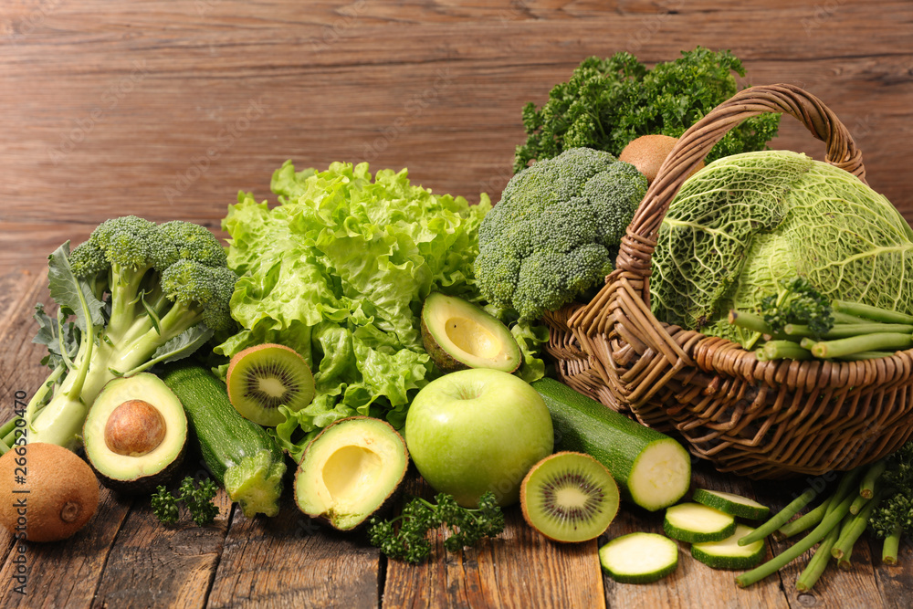 Fototapety, obrazy: selection of green fruit and vegetable