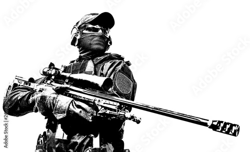 Fotografia Police tactical group sniper with rifle in hands