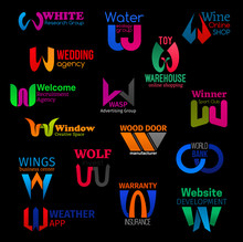 W Geometric Abstract Corporate Identity Icons