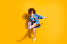 Full Length Body Size Photo Funny She Her Lady Wavy Styling Curls Clubber Strange Moves Wear Headset Ear Flaps Specs Casual Jeans Denim Shirt Shorts Tank Top Clothes Isolated Yellow Background