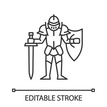 Medieval Knight With Shield And Sword Linear Icon