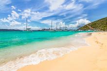Tropical Beach And Sea. White Bay Beach, Jost Van Dyke, British Virgin Islands.