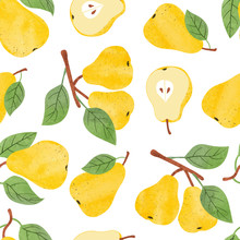 Seamless Watercolor Pears Pattern. Vector Fruit Background.