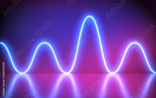 Futuristic Abstract Blue And Purple Neon Wave motion Light Shapes On colorful background and reflective With Empty Space For Text - render, laser show, night club interior lights, glowing line - 266529038