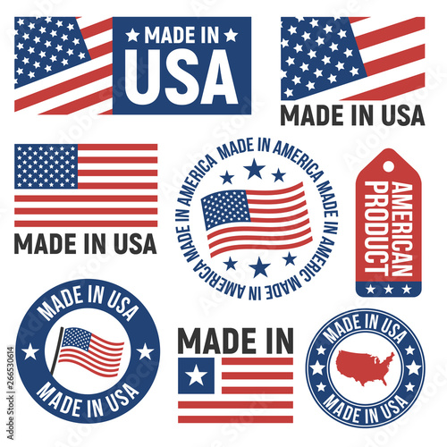 Made in USA labels, badges, signs Tableau sur Toile