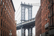View on teh famous Dumbo and the Manhattan Bridge in the streets of Brooklyn