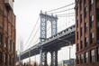 View of Dumbo and the Manhattan Bridge in the streets of Brooklyn - New York City, NY