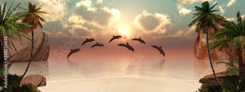 Dolphins playing at sunset near a tropical island with palm trees Wallpaper Mural