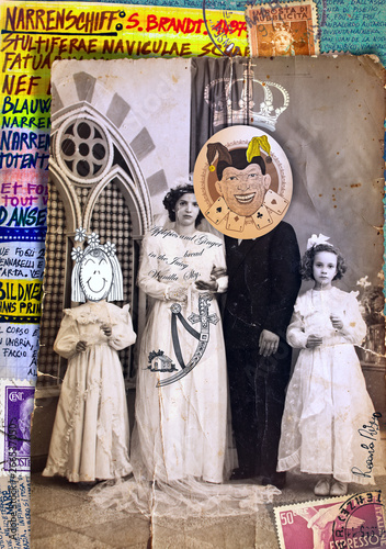 Papiers peints Imagination Scrapbooks and macabre and surreal collages with drawings and old vintage photographs