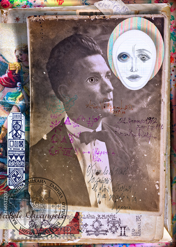 Cadres-photo bureau Imagination Scrapbooks and macabre and surreal collages with drawings and old vintage photographs