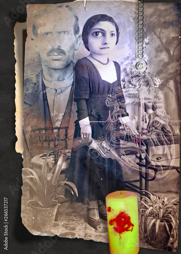 Foto op Canvas Imagination Scrapbooks and macabre and surreal collages with drawings and old vintage photographs