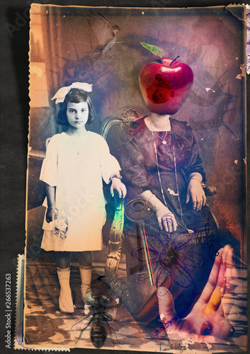 Scrapbooks and macabre and surreal collages with drawings and old vintage photographs