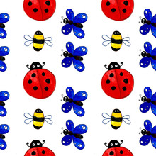Seamless Pattern Ladybug Ladybird Butterfly Bee Insect Illustrationfor Baby Kids Red Blue Yellow Black