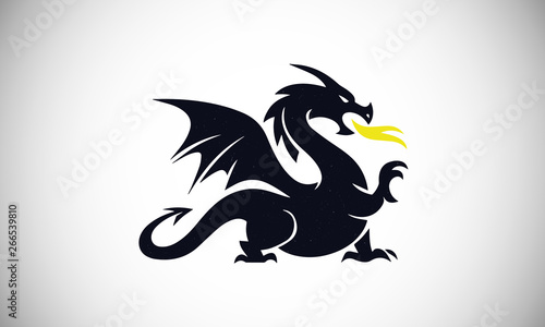 Fotografie, Tablou Dragon vector design wild  art animal tattoo