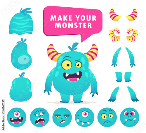 Cartoon monster creation kit, cute face set Wallpaper Mural