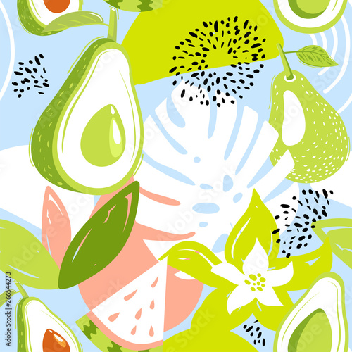 Contemporary seamless pattern with avocado fruits, watermelon, leaves and abstract elements. Creative floral collage. Vector texture for textile, wrapping paper, packaging etc. Vector illustration. - 266544273