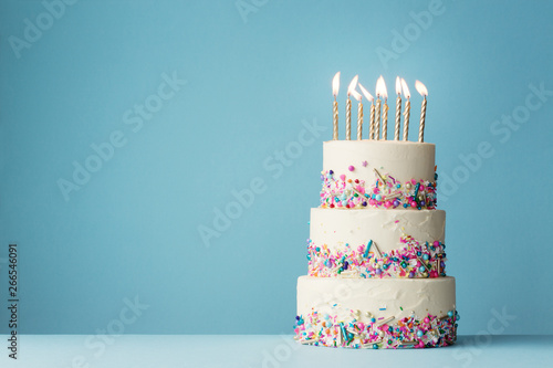 Tiered birthday cake with sprinkles Canvas Print