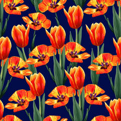 Fototapeta Optyczne powiększenie Seamless pattern orange color Tulips flowers on dark blue isolate background.Vecter illustration drawing watercolor style. repeat floral wallpaper design fabric print.