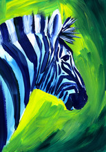 Oil Painting Portrait Of A Zebra On A Bright Green Background. Hand-drawn Illustra...