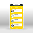 Yellow online music list UI, UX, GUI screen for mobile apps design. Modern responsive UI design of mobile applications including Music player screen with jazz, rock and roll, deep house categories