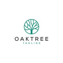 Simple Oak Tree Vector Logo Design