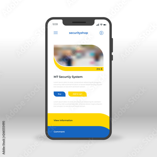 Blue And Yellow Security Shop Ui Ux Gui Screen For Mobile Apps Design Modern Responsive User Interface Design Of Mobile Applications Including Online Shopping Screen Buy This Stock Vector And Explore