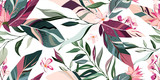 Fototapeta Kwiaty - botanic seamless pattern with exotic flowers and leaves, hand drawn background. floral pattern. Tile with tropical leaf