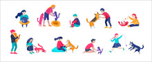 Vector Illustration Set Of Children With Cats And Dog. Happy, Funny Kids Playing, Love And Taking Care Of Kittens, Pet Animals In Flat Cartoon Style.