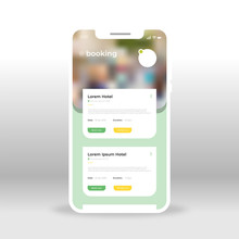 Green Hotel Booking UI, UX, GUI Screen For Mobile Apps Design. Modern Responsive User Interface Design Of Mobile Applications Including Online Booking Screen