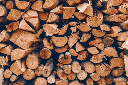 Foto op Plexiglas Brandhout textuur Picture of logs stacked on pile.