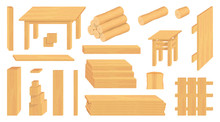 Set Of Wood Logs, Trunks And Planks. Different Wooden Crafts. Forestry. Wooden Crafts To Sell. Wooden Fence. Vector Graphics To Design
