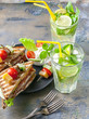 Delicious sandwiches and homemade lemonade. Drinks and snacks. Vertical shot
