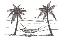 Hammock Between Palm Trees On The Sea Beach. Samui Hand Drawn Sketch Illustration.