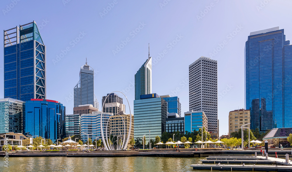 Fototapety, obrazy: Beautiful view of the center of Perth, Western Australia, on a sunny day