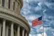 Washington DC capitol with waving flag