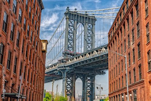 Spoed Fotobehang Brooklyn Bridge New york city manhattanh bridge