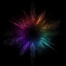Burst Color Vector Background. Dot Liquid Flow 3d Design Illustration. Geometric Dynamic Particles Explosion Concept